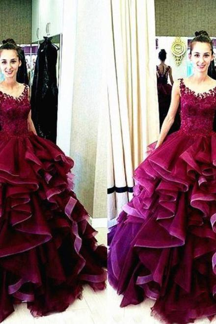 Charming Burgundy Ball Gown Long Prom Dress, Scoop Neck Lace Appliques Organza Prom Dress, Elegant Floor Length Ruffles Prom Dress, #020102500