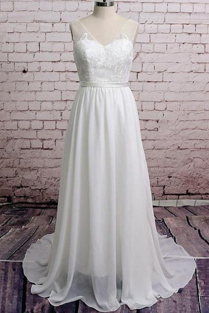 V-Neck A-line Chiffon Wedding Dress with Lace Appliqués