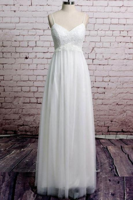Spaghetti Straps Wedding Dresses with Lace Appliques, Simple Beach Wedding Gowns Online, Inexpensive Empire White Bridal Gowns, #00020485