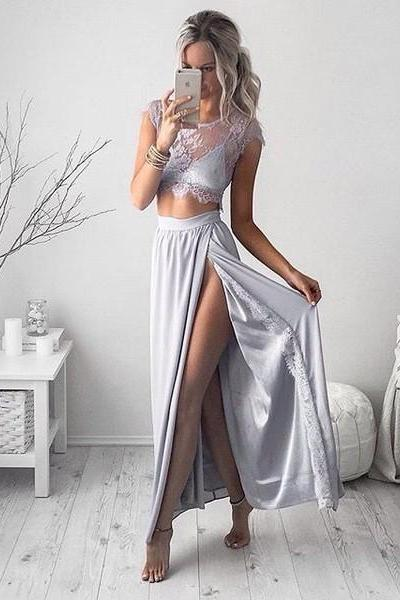Sexy High Split Two Piece Gray Long Prom Dress, Scoop Neck Illusion Lace Cap Sleeves Prom Dress, Appealing Ankle Length Chiffon Prom Dress, #020102509