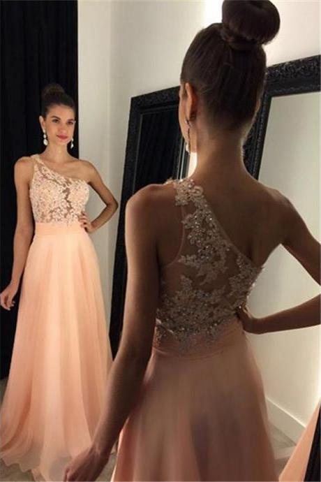 Asymmetric One Shoulder Tulle Prom Dress with Lace Appliques, Pink Sequins Chiffon Long Prom Dress, Floor Length Sweep Train Prom Dress, #020102512