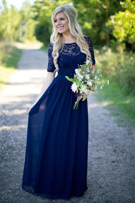 Bateau Neck Short Sleeves A-line Bridesmaid Dress, Dark Blue Lace Sequins Bridesmaid Dress, Chiffon Long Bridesmaid Dress, #01012910