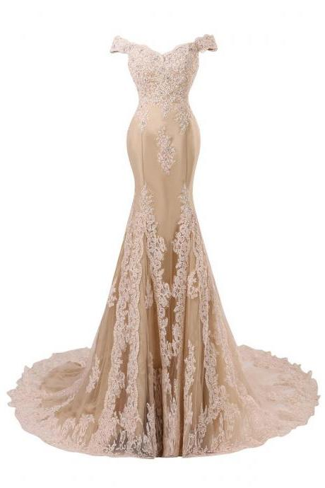 Champagne Lace Appliqués Floor Length Mermaid Evening Gown Featuring Off Shoulder Plunge V Bodice