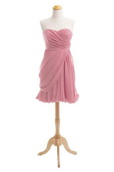 Asymmetric Ruched Short Bridesmaid Dress, Cute Sweetheart Empire Mini Bridesmaid Dress, Chic Pink Chiffon Bridesmaid Dress, #01012919
