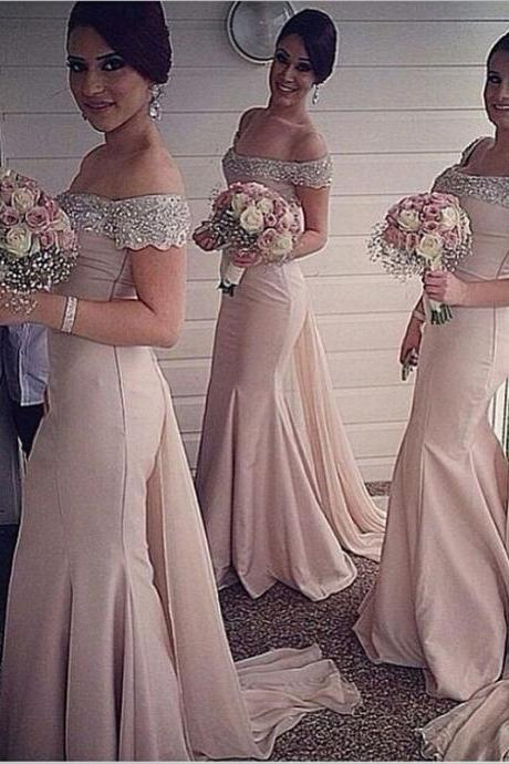 Beaded Sequins Off-the-Shoulder Bridesmaid Dress, Pink Floor Length Watteau Train Bridesmaid Dress, Chiffon Trumpet Bridesmaid Dress, #01012916