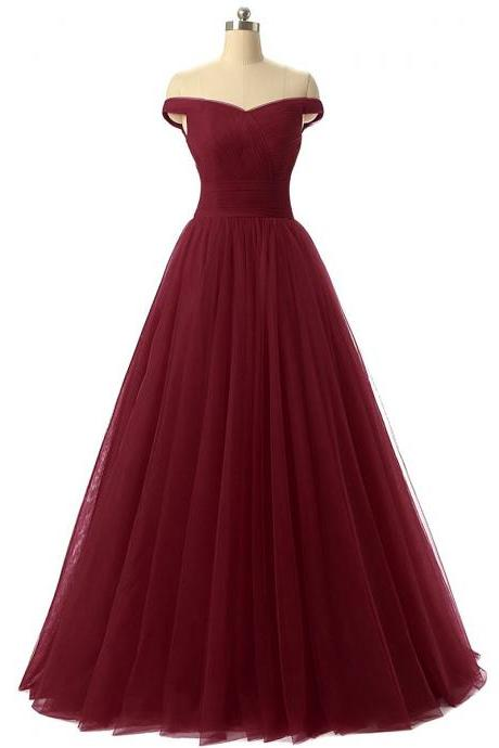 Burgundy Floor Length Tulle Ball Gown Featuring Ruched Off-The-Shoulder Bodice and Lace-Up Back