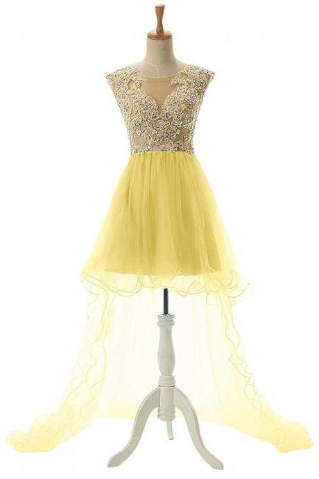 Scoop Neck See-through Lace Appliques Tulle Prom Dress, Crystal Open Back High Low Prom Dress, Cap Sleeves Yellow Prom Dress, #020102686
