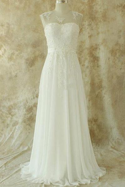 Illusion Lace Appliques Pearl Long Wedding Dress, Chic V Back A-line Sash Bridal Gown, Chiffon Floor Length Sweep Train Wedding Dress, #00020582