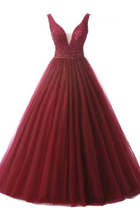 Plunging V Neck Tulle Wine Long Prom Dress, Beaded Red Princess Floor Length Prom Dress, Dream Sequined Low Back Prom Dress, #020102689