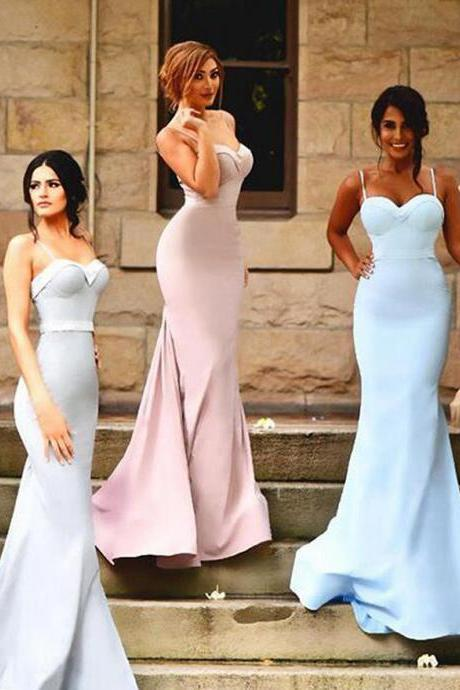 Spaghetti Straps Pink Long Bridesmaid Dress, Blue Trumpet Sweep Train Bridesmaid Dress, Covered Buttons Satin Bridesmaid Dress, #01012922