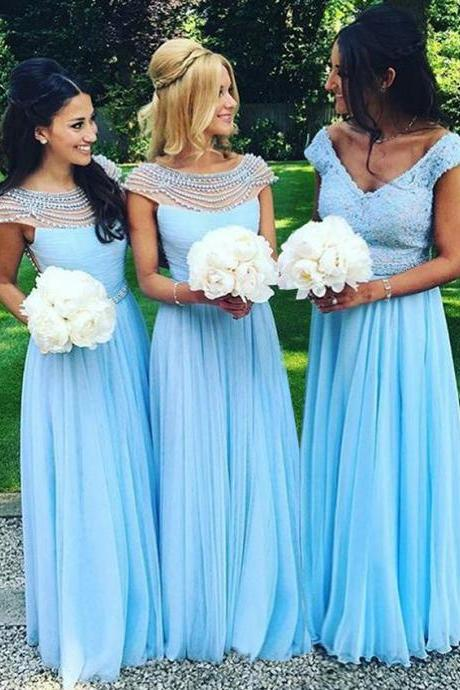 Peal Beaded Bateau Neck Tulle Bridesmaid Dress, Baby Blue A-line Long Bridesmaid Dress, Low Back Chiffon Bridesmaid Dress, #01012921