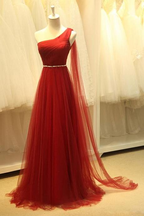 Asymmetric One Shoulder A-line Long Prom Dress, Greek Style Pearl Beaded Belt Prom Dress, Red Tulle Sweep Train Prom Dress, #020102695
