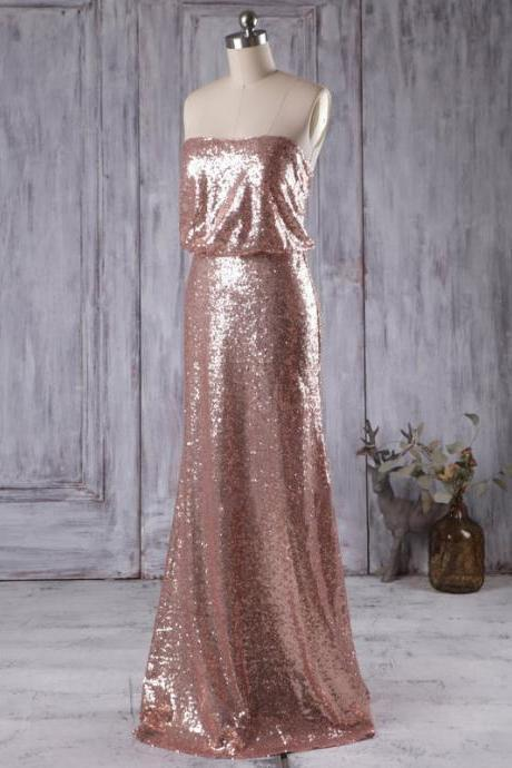 Sparkly Rose Golden Bridesmaid Gowns, Stunning Sequined Column Bridesmaid Dress, Floor-length Strapless Bridesmaid Dresses, #01012935