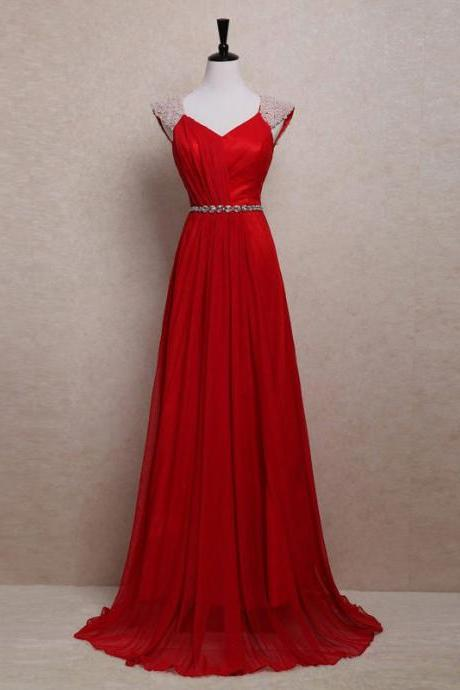 V Neck Pearl Cap Sleeves Red Long Prom Dress, A-line Chiffon Sweep Train Prom Dress, Key Hole Back Crystal Belt Prom Dress, #020102700