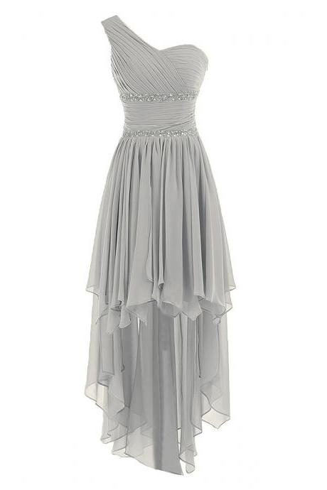 Asymmetrical Gray Bridesmaid Dresses, Fabulous Beaded A-line Bridesmaid Dress with Ruched Bust, One Shoulder Chiffon Bridesmaid gowns, #01012944