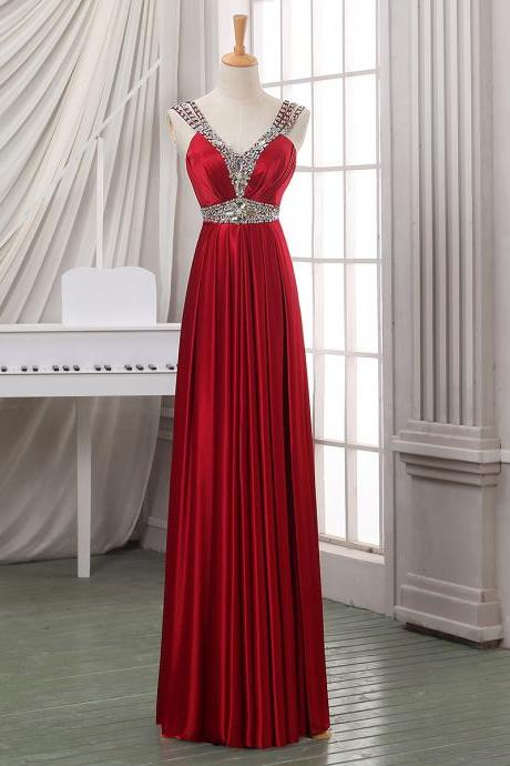 Beaded Straps Red Satin Long Prom Dress, V Neck Sheath Floor Length Prom Dress, Elegant Crystal Sequins Pleats Prom Dress, #020102704