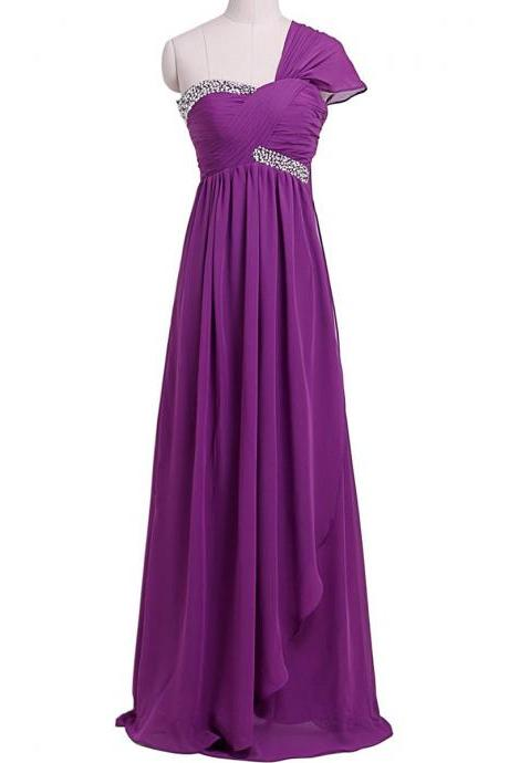 Lilac Floor Length Chiffon A-Line Pleated Prom Dress Featuring Beaded Embellished Ruched Sweetheart Bodice with One Shoulder Cap Sleeve