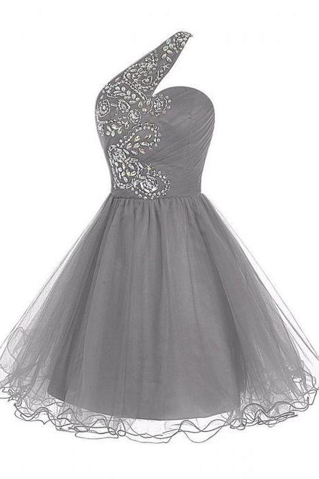 Light Grey Short A-Line Tulle Homecoming Dress Featuring Beaded Embellished Ruched One Shoulder Sweetheart Bodice and Lace-Up Back