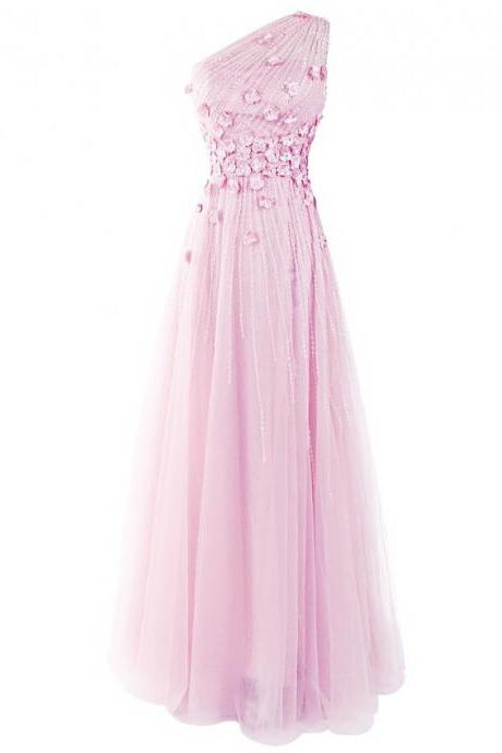 Cute Light Pink Beaded Petals Prom Dress, Sweet One Shoulder Long A-line Prom Dress, Asymmetric Cowl Back Tulle Prom Dress, #020102710
