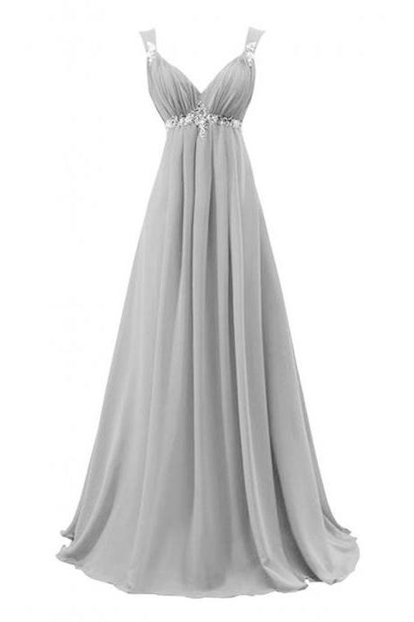 Sleeveless V-Neck Empire Chiffon Long Prom Dress, Evening Dress Featuring Lace-Up Back and Beaded Embellishment
