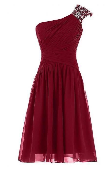 Crystal Beaded One Shoulder Ruched Short Prom Dress, Burgundy A-line Knee Length Prom Dress, Pleats Mini Chiffon Prom Dress, #020102719