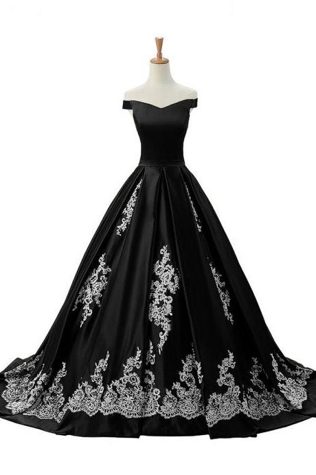 Off-the-shoulder Satin Floor-Length Dress with Embroidered Skirt and Lace-Up Back