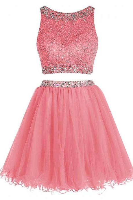 Bateau Neck Illusion Pink Short Prom Dress, Crystal Beaded Two Piece Prom Dress, Sequined Crop Top Tulle Mini Prom Dress, #020102723