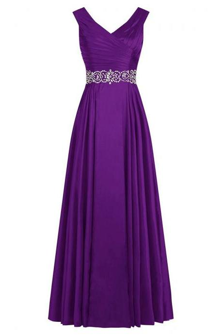 Purple Long Satin A-Line Pleated Evening Dress Featuring Plunge V Ruched Bodice and Crystal Bead Work