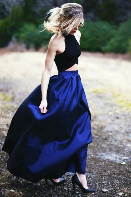 High Neck Halter Two Piece Long Prom Dress, Floor Length Pleats Satin Prom Dress, Black and Royal Blue Crop Top Prom Dress, #020102737
