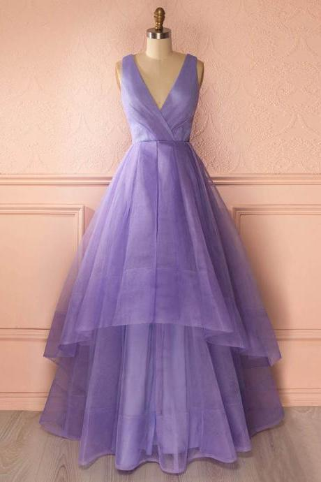 Unique Deep V Neck Floor Length Prom Dress, Lavender Organza Princess Long Prom Dress, Asymmetric Tiered Pleats Prom Dress, #020102740