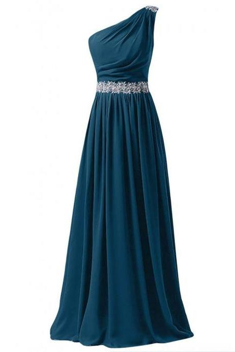 Sequins One Shoulder Steel Blue Prom Dress, Beaded Lace Appliques Belt Prom Dress, Lace-up A-line Long Chiffon Prom Dress, #020102742