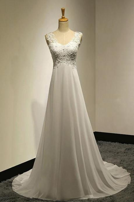 Sleeveless Lace Appliques Chiffon A-line Wedding Dress with Cowl Back and Sweep Train