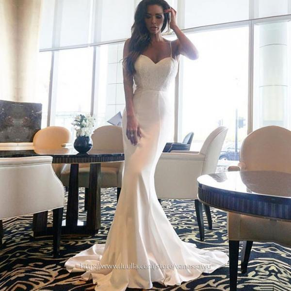 Mermaid Prom Dresses,White Sweetheart Long Formal Dresses,Satin Chiffon Evening Dresses with Lace Sashes,#020105480