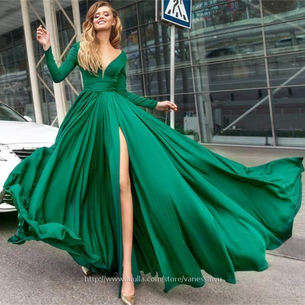 Best Green Long Sleeves Prom Dresses,A-line V-neck Long Evening Dresses,Satin Chiffon Formal Dresses with Ruffle Split Front,#020104878
