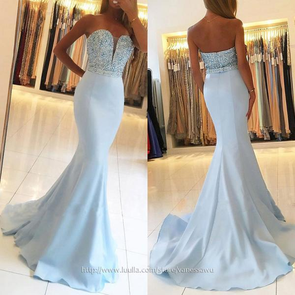 Designer Sky Blue Long Prom Dresses,Trumpet/Mermaid V-neck Formal Dresses,Silk-like Satin Evening Dresses with Beading Sashes,#020104979