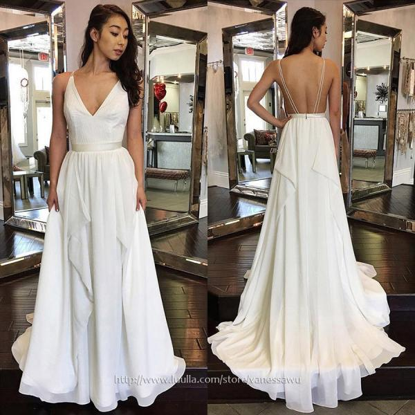 Fashion White Long Prom Dresses,A-line V-neck Evening Party Dresses,Chiffon Pageant Formal Dresses with Sashes,#020105276
