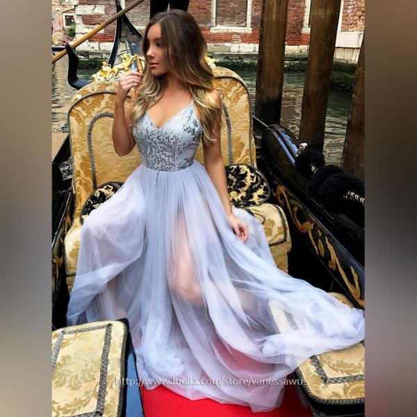Fabulous Long Prom Dresses For Cheap,A-line V-neck Formal Dresses,Chiffon Evening Party Dresses with Sequins,#020105288