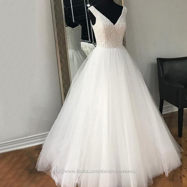 Modest White Long Prom Dresses,Ball Gown V-neck Formal Party Dresses,Tulle Pageant Evening Dresses with Pearl Detailing,#020105414