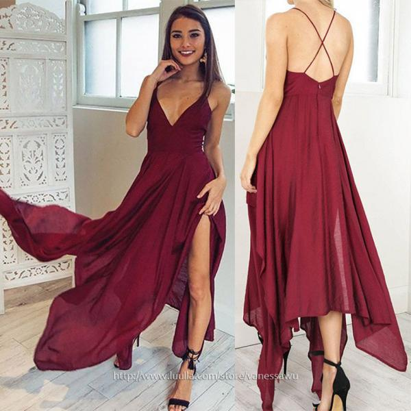 Cute Burgundy High Low Prom Dresses,A-line V-neck Formal Dresses,Asymmetrical Chiffon Evening Dresses with Split Front,#020106076