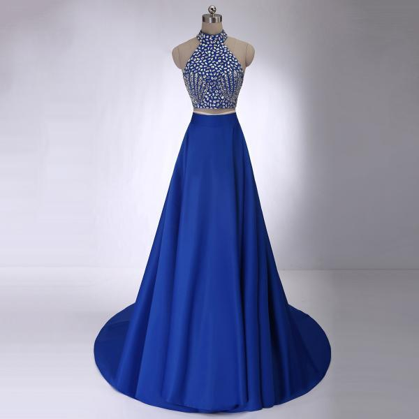 Crystal Beaded High Neck Prom Dresses, Royal Blue Crop Top Prom Dress with Allover Beaded Bodice, Two Piece Satin Prom Dress, #020102228
