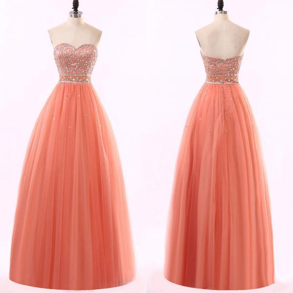 Watermelon Ball Gown Prom Dress, Sweetheart Princess Tulle Prom Dress, Beaded Floor-length Prom Dress, #020102217