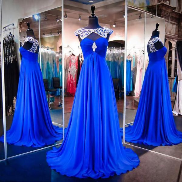 Royal Blue Prom Dress with Beaded Neckline, High Neck Chiffon Prom Gowns, Wholesale Open Back Prom Dress, #020102216