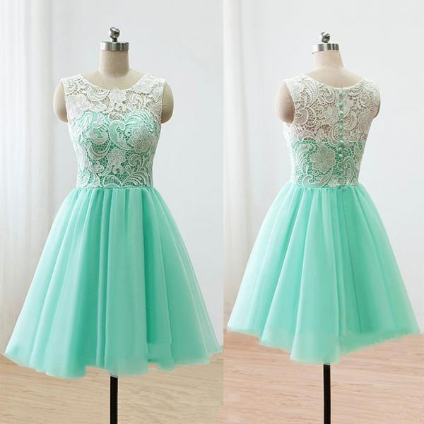 Sleeveless Green Prom Dress, Illusion Lace Prom Dresses with Buttons, Elegant Mint Short Homecoming Dress, #020102213