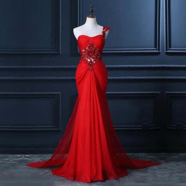 One Shoulder Prom Dress with Beaded Flowers, Unique Red Prom Gowns, Mermaid Chiffon Prom Dress with Cut-out, #020102212