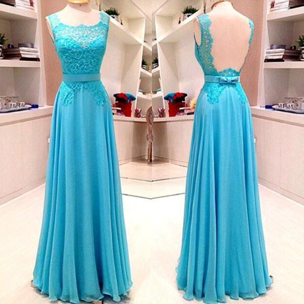 Blue Prom Dresses with Lace Appliques, Graceful Chiffon Prom Gowns, Floor-length Backless Prom Dress with Belt, #020102080