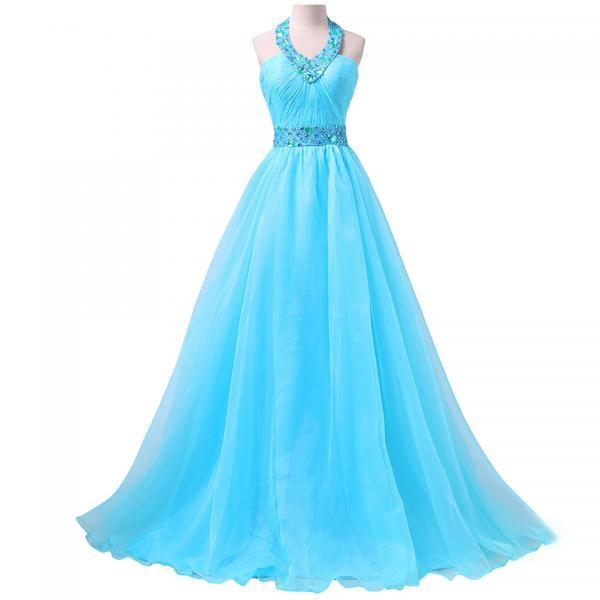Fashionable Halter Prom Dress with Ruching Detail, Blue Chiffon Prom Gowns with Sweep Train, Beaded Prom Dresses, #020102079