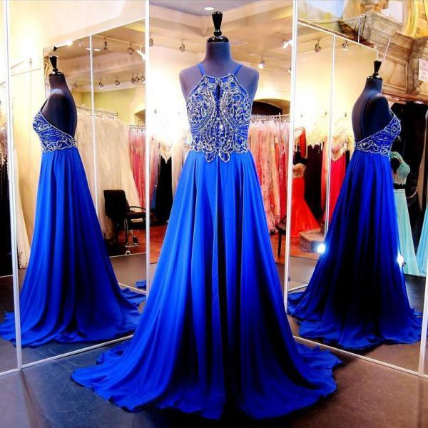 Royal Blue Beaded Prom Dresses, Halter Chiffon Prom Gown with a Keyhole Design, Beaded Backless Prom Dresses, #020102078