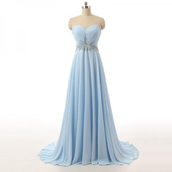 Sky Blue Floor Length A-Line Chiffon Prom Dress Featuring Ruched Sweetheart Bodice with Beaded Embellished Belt