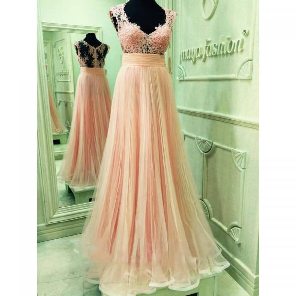 Pink Cap Sleeve Prom Dresses with Lace Appliques, V-neck See-through Prom Dress Online, Floor-length Tulle Prom Gowns, #020102061