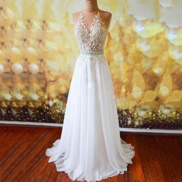 White Prom Dresses with Lace Appliques, Sexy Open Back Prom Dresses, Chiffon Prom Gowns with Sweep Train, #020102042